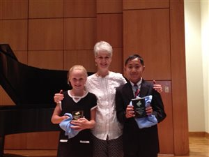 State winners 2016 Mary Katherine and Isaac with Mrs. Berg