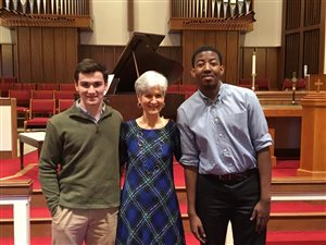 Mrs. Berg with Seniors Michael and Terence